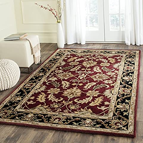 Safavieh Heritage Collection HG628C Handmade Traditional Oriental Red and Black Wool Square Area Rug (8' - Kashan Red Rug