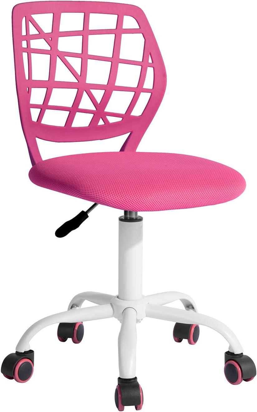 FurnitureR Computer Desk Chair, Swivel Armless Mesh Task Office Chair Adjustable Home Children Study Adjustable Height & Lumbar Support (Pink) …