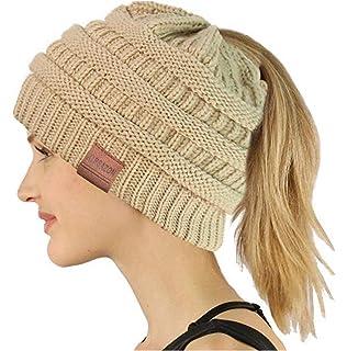 GRE1BEE Ponytail Beanie High Bun Hat Winter Messy Hats Tail Soft ... e509c8c4cc31