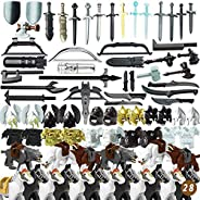 Goshfun 80Pcs Ancient Greek Ancient Roman Medieval Figure Weapon Armor Set, Small Particle Building Block Toy
