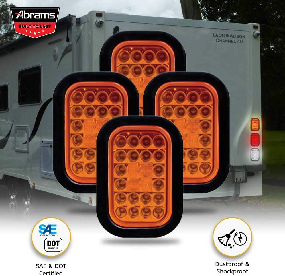 IP67 Waterproof RV Semi Truck Taillight DOT Certified Colored Lens 4 Pack Rectangular Truck Park Turn Signal Lights Grommet /& Plugs Included 5 x 3 Amber 24 LED Trailer Tail Light
