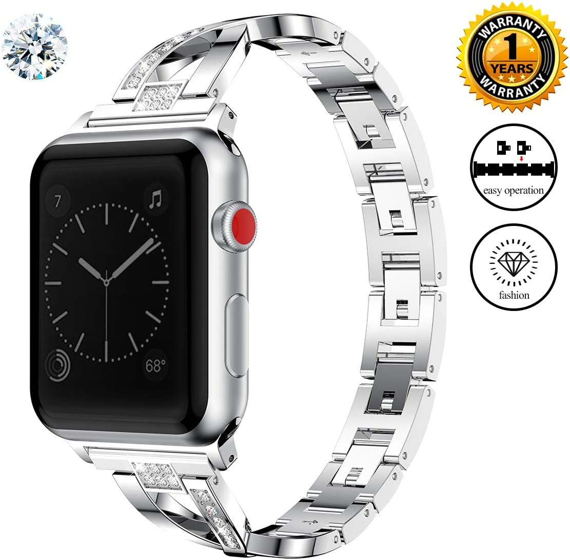 Jomoq Bling Replacement Bands Compatible for Apple Watch Band 38mm 40mm 42mm 44mm Women Iwatch Series 4 3 2 1 Accessories Stainless Steel Wristband, Diamond Rhinestone Sport Strap (small, Silver)