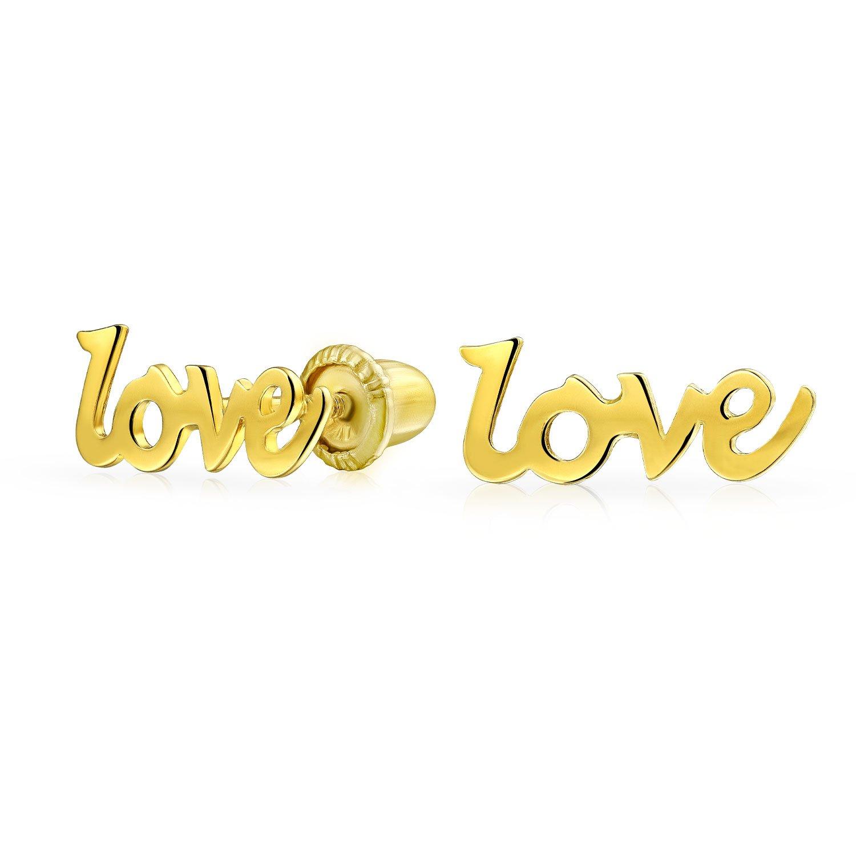 """Children's 14K Gold """"Love"""" Screwback Stud Earrings"""