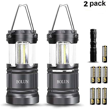 Camping Hiking Lights COB LED Bulb Battery Powered Tent Light Flashlight Lantern