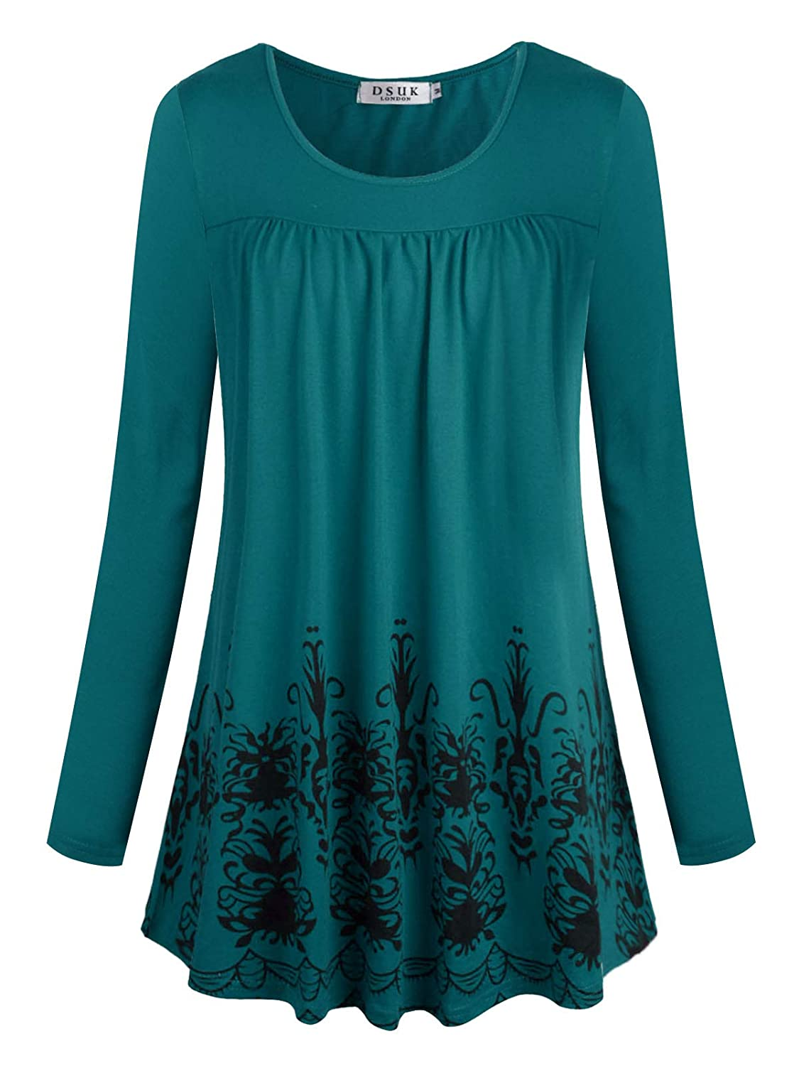 bluee DSUK Women's Round Neck Short Sleeve Casual Floral Pleated Loose Fit Tunic Tops