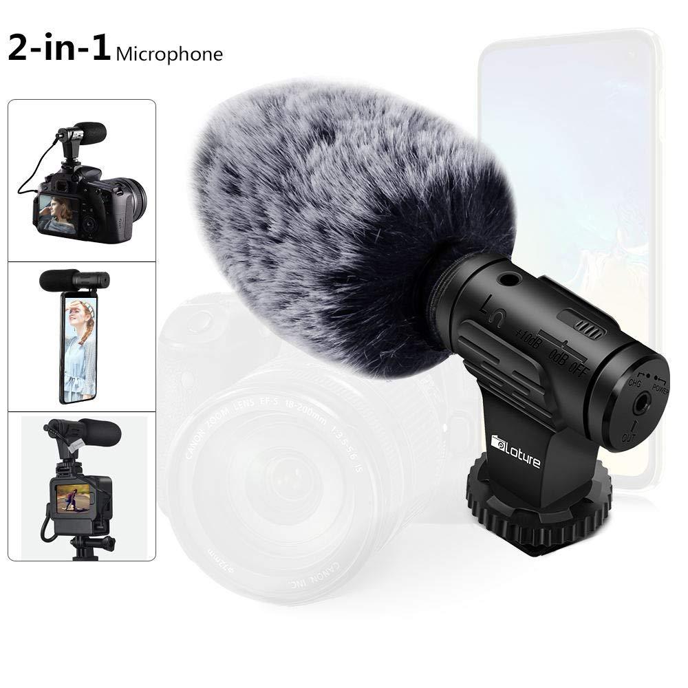 カメラマイク、インタビューMICスーパーカーディオイドショットガンカメラ付きマイクは、ニコンキヤノンやファーウィンドシールドを備えた他のDSLRカメラで動作します。 (黑) product image