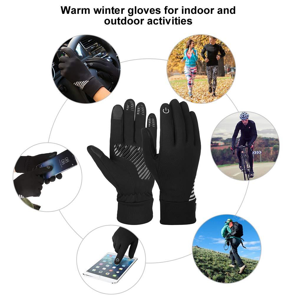 VBG VBIGER Touch Screen Gloves Anti-slip Running Cycling Gloves Sports Gloves Liner Winter Gloves for Men Women (M)