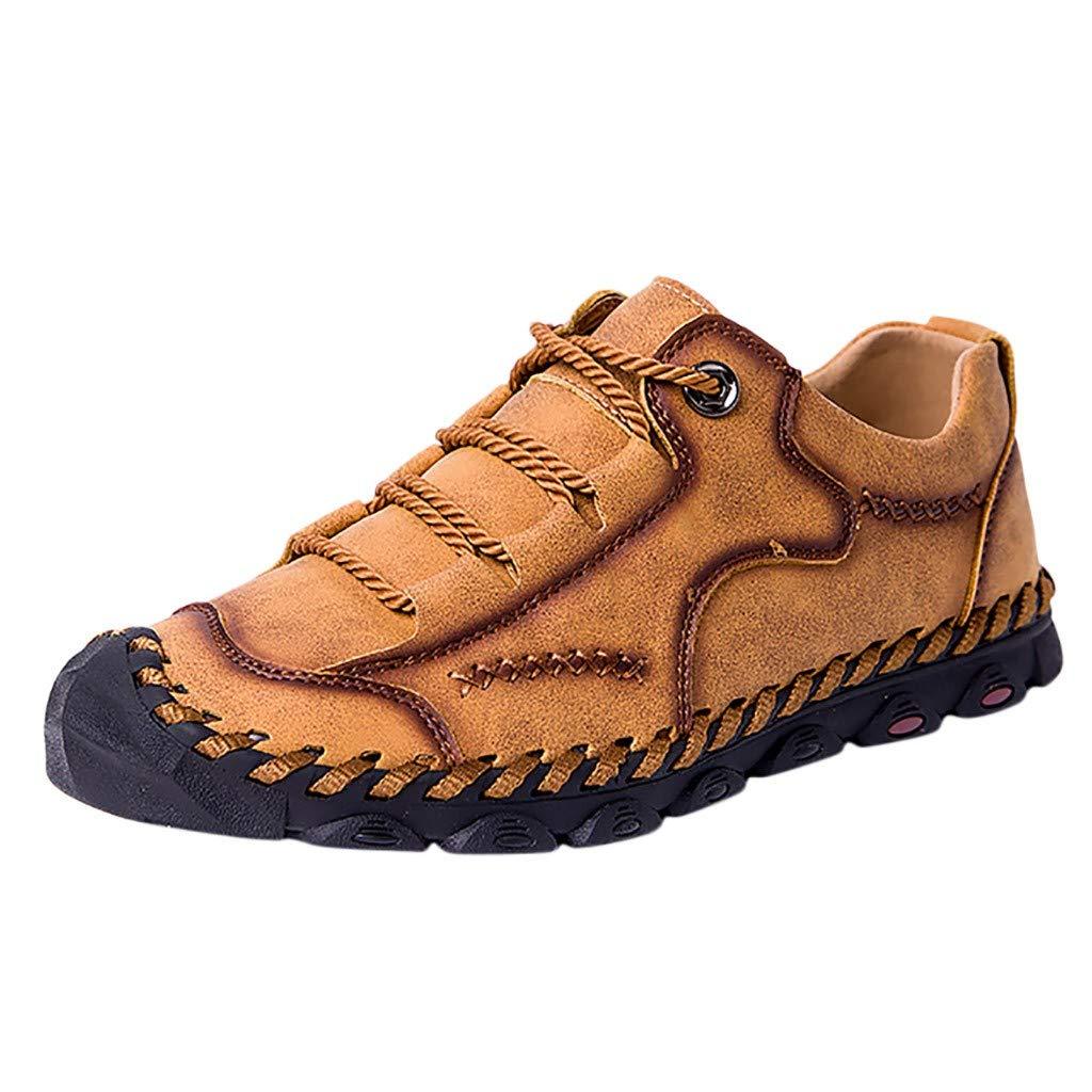Kawaiine Men's Sandals Leather Breathable Close-Toe Sandals Non-Slip Summer Adjustable Beach Fisherman Slippers Outdoor Brown
