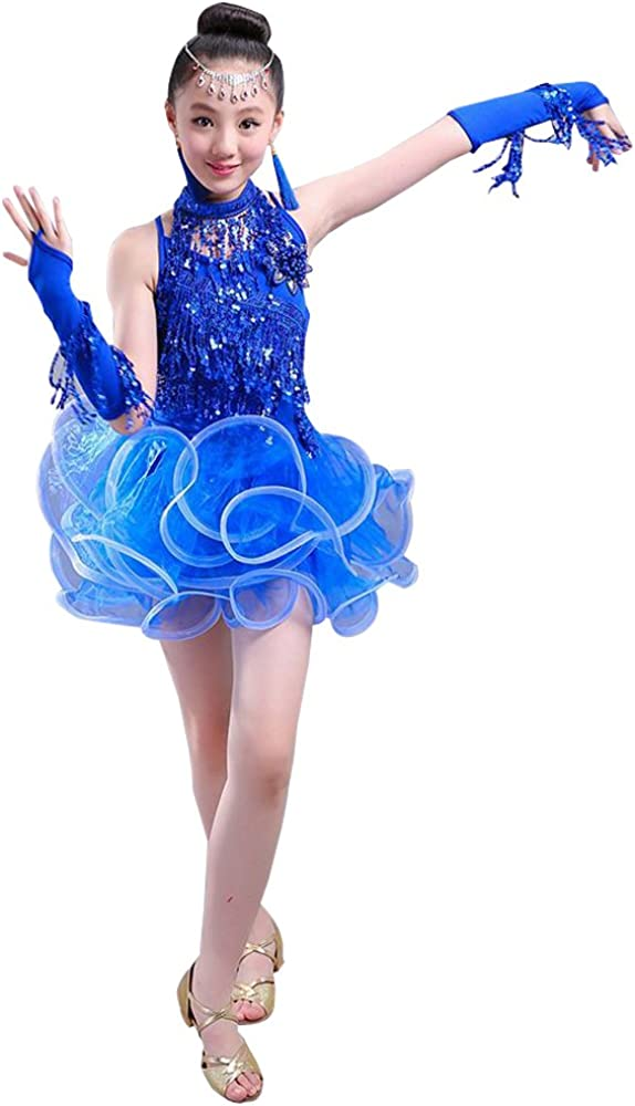 Yellow KINDOYO Girls Children Latin Dance Costume Elegant Sequin Yarn Long Sleeve Dancewear Dress Competition Performances Dance Outfits