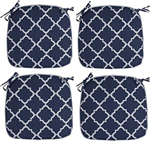 IN4 Care Outdoor/Indoor Chair Seat Cushions with Ties Set of 4, Patio Chair Pads 16x17 Inch for Home Office Patio Furniture Garden Decoration (Geometry Navy)