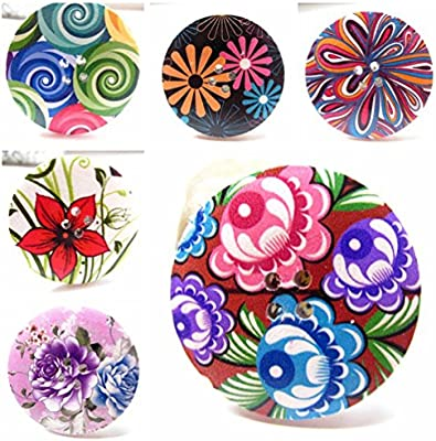 25 x Mixed Coloured /& Patterned Wooden Buttons 15mm-40mm FREE P/&P!