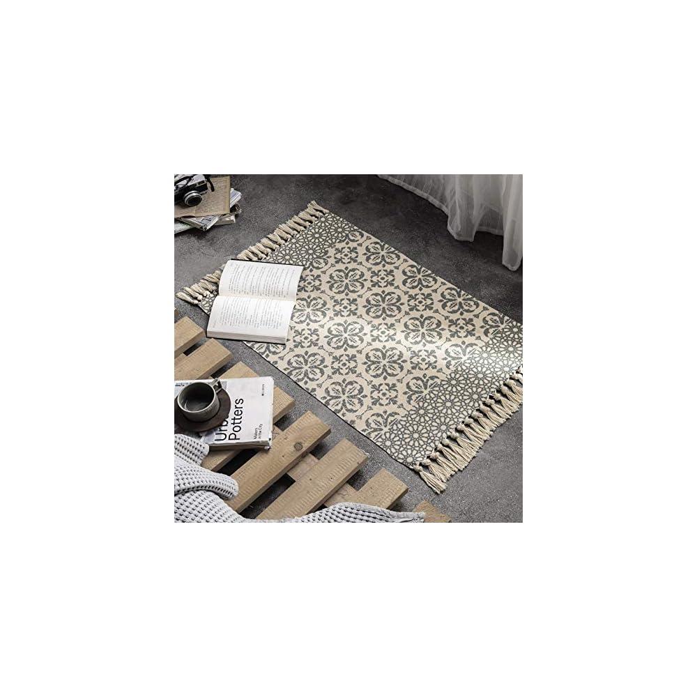 Boho Cotton Area Rug 2' x 3' for Bedroom, Hand Woven Fringe Throw Rug, Farmhouse Print Tassels Bath Mat, Geometric…