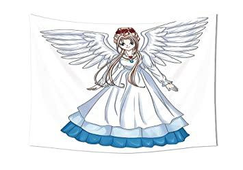 Anime Tapisserie Decor Dessin Animé Illustration De Mignon Ailes D