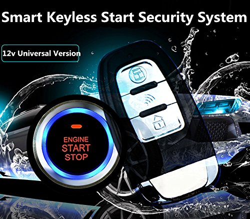 Car Alarm Start Security System Qiyun 12V Universal 8Pcs Car Alarm Start Security System PKE Induction Anti Theft Car Alarm Keyless Entry Push Button Remote Kit