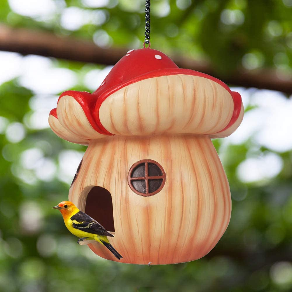 "Claratut Mushroom Bird House Outside, Hanging Bird Hut Bird Nest Decor for Outdoor Garden Patio, 7.5"" L x 7.5"" W x 8.8"" H"