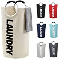 82L Large Laundry Basket Collapsible Fabric Laundry Hamper Tall Foldable Laundry Bag Handles Waterproof Portable Washing Bin Folding Clothes Bag Travel Shopping Bathroom College (Beige,L)