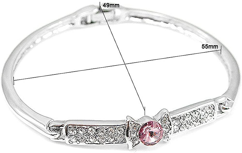 1439 Glamorousky Elegant Bow Tie Bangle with Pink Austrian Element Crystal