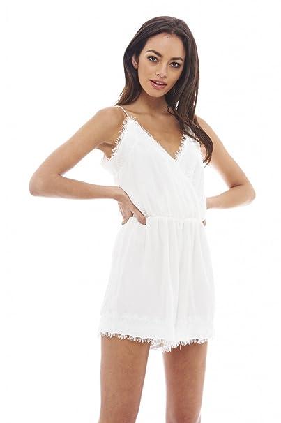 6e31156e1196 Amazon.com  AX Paris Women s Strappy Lace Romper  Clothing