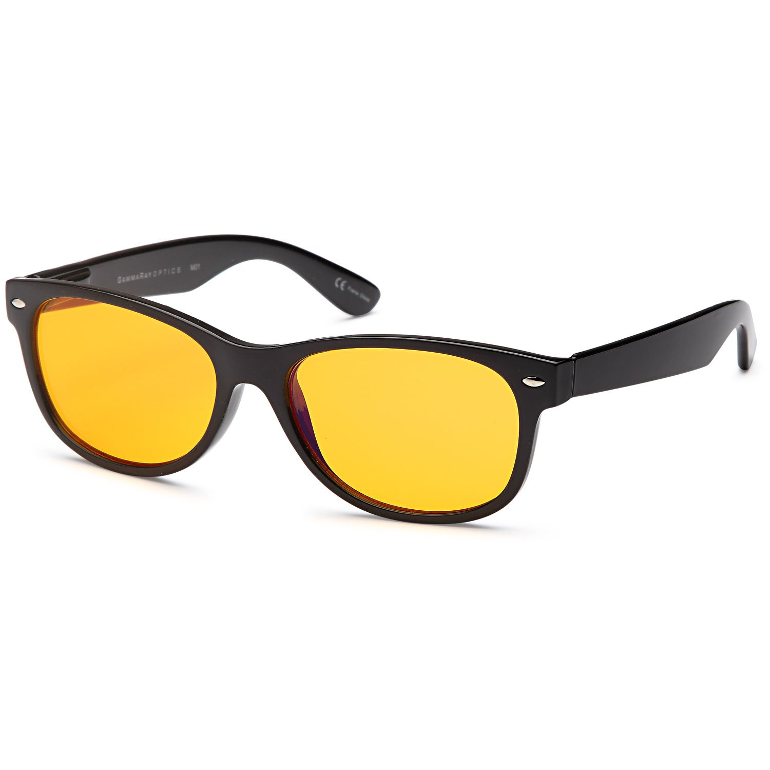 GAMMA RAY 900 Better Sleep Night Time Screen Glasses Blue Light Blocking Orange Lens for Computer Gaming TV Screen Viewing - With 0.00x Magnification