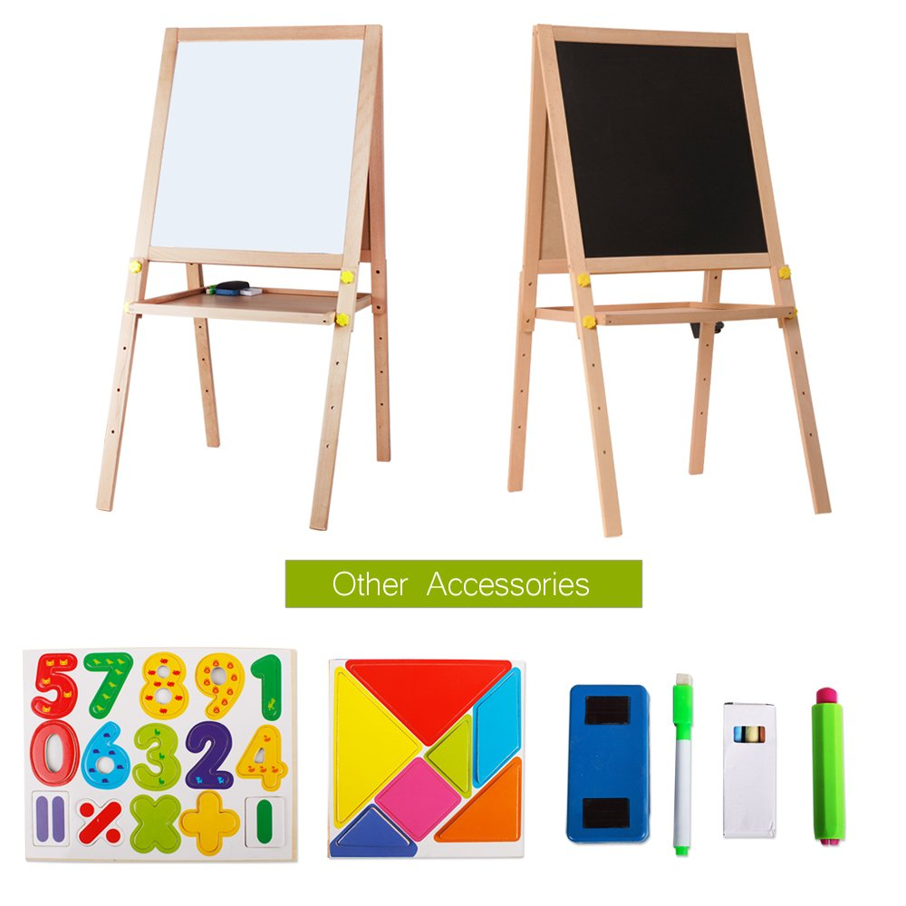 Kids Standing Art Easel Wooden Double Sided Adjustable Height Magnetic Drawing Board with Tray and Accessories by YIRAN (Image #3)