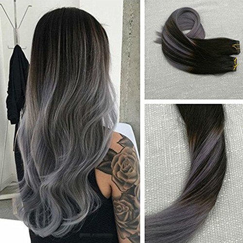Ugeat 14 inch Balayage Color Tape in Hair Extensions Seamless Real Human Hair Skin Weft 50 Gram Per Package Ombre Color #1B and Silver Balayage Two Tone - Tone Color Skin Two