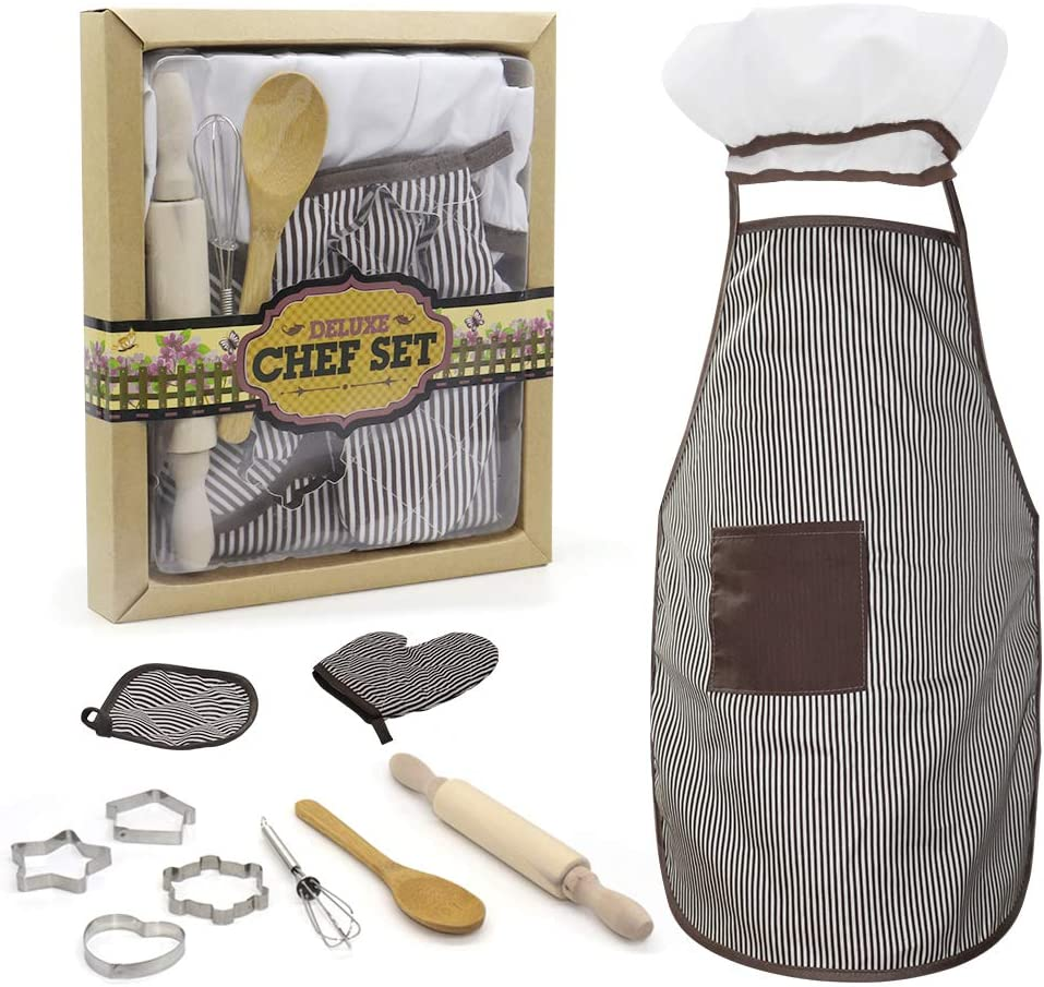 N /C 11PCS Kids Children's Cooking Baking Set, Children Dress Up Chef Role Play Costume Aprons Chef Hats, Gloves and Toddler Utensils Chef Costumes for Kids 3 Years and Older (11pcs Apron Set)