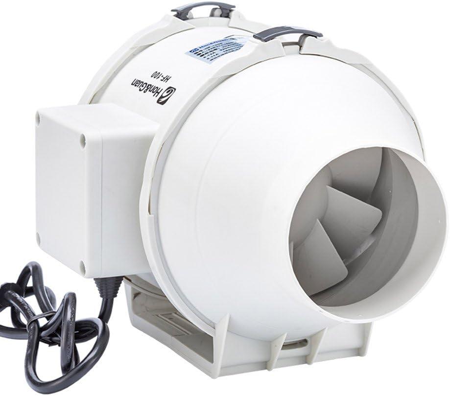 Hon&Guan Ventilador Extractor de Aire en Línea con con Temporizador/Motor de Dos-velocidades para Oficina, Hotel, Baño (ø100mm)