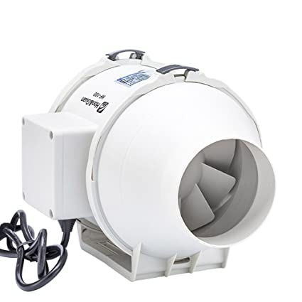 Hon&Guan 100mm Rohrventilator Mischdurchfluss Rohrlüfter mit Starker Abluft System 115CFM für Büro , Bad , Halle , Hydroponic