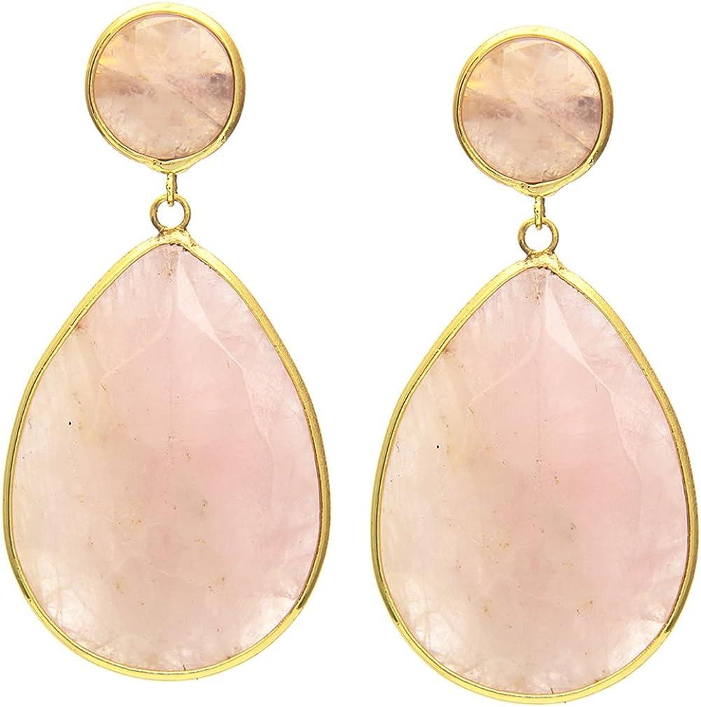 Pendientes de gota de cuarzo rosa dorado con gemas al por mayor