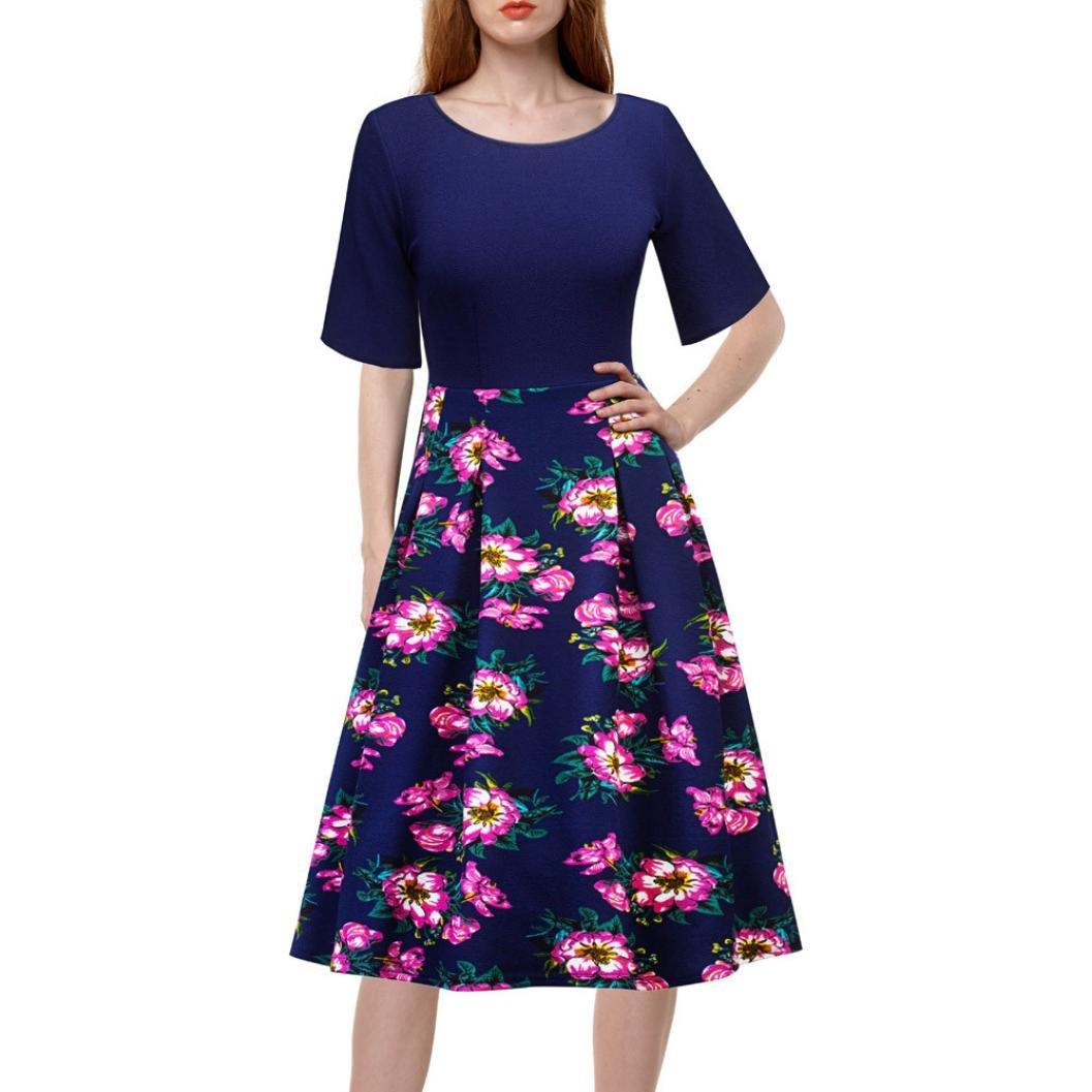 Swing Dress,Women's Vintage Floral Printed Patchwork A-line Cocktail Party Dress (Navy, L)