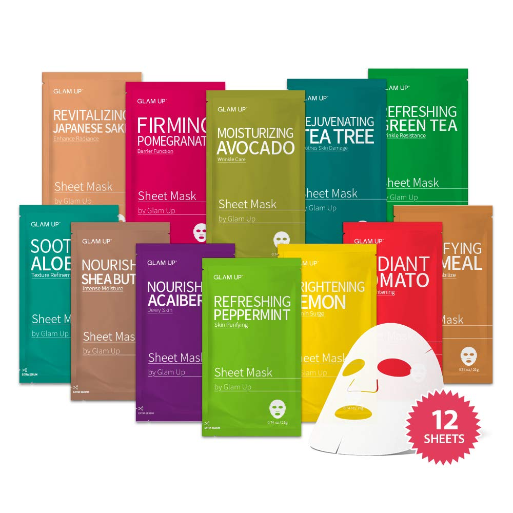 Sheet mask by Glam Up Facial Sheet Mask BTS 12Combo-The Ultimate Supreme Collection for Every Skin Condition Day to Day Skin Concerns. Nature made Freshly packed Original Korean Face Mask 12sheets