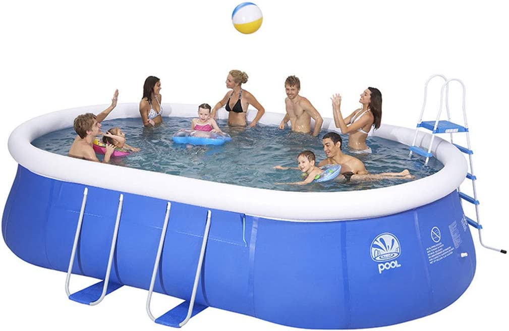 WARM ROOM Piscina, Piscina para Adultos para niños Piscina Ovalada Grande Piscina privada, Bracket de Soporte al Aire Libre Verano Protección del Medio Ambiente 366 * 195 * 90cm