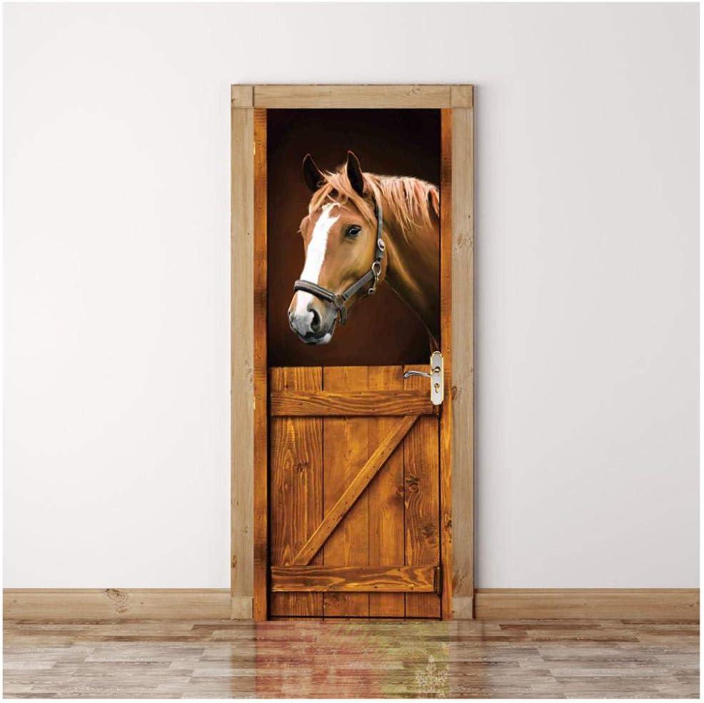 Papel pintado de la puerta 3D Creativo Caballo animal 77cmx200cm Etiqueta De La Puerta Autoadhesiva Papel Mural Interior Vinilo Impermeable Desmontable Pvc Fotográfico Murales