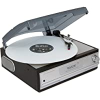 Boytone BT-17TBC Home Turntable System + Cassette Player & 2 Built-In Speakers (Silver)