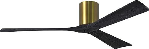 Matthews IR3H-BRBR-BK-60 Irene Indoor/Outdoor Damp Location 60″ Hugger Ceiling Fan