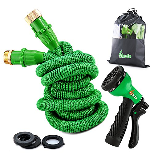 Garden Hose-75 ft Expandable Hose Heavy Duty Flexible Hose Pipe with 8-Way Spry Nozzle,Pocket Water Hose (Green)
