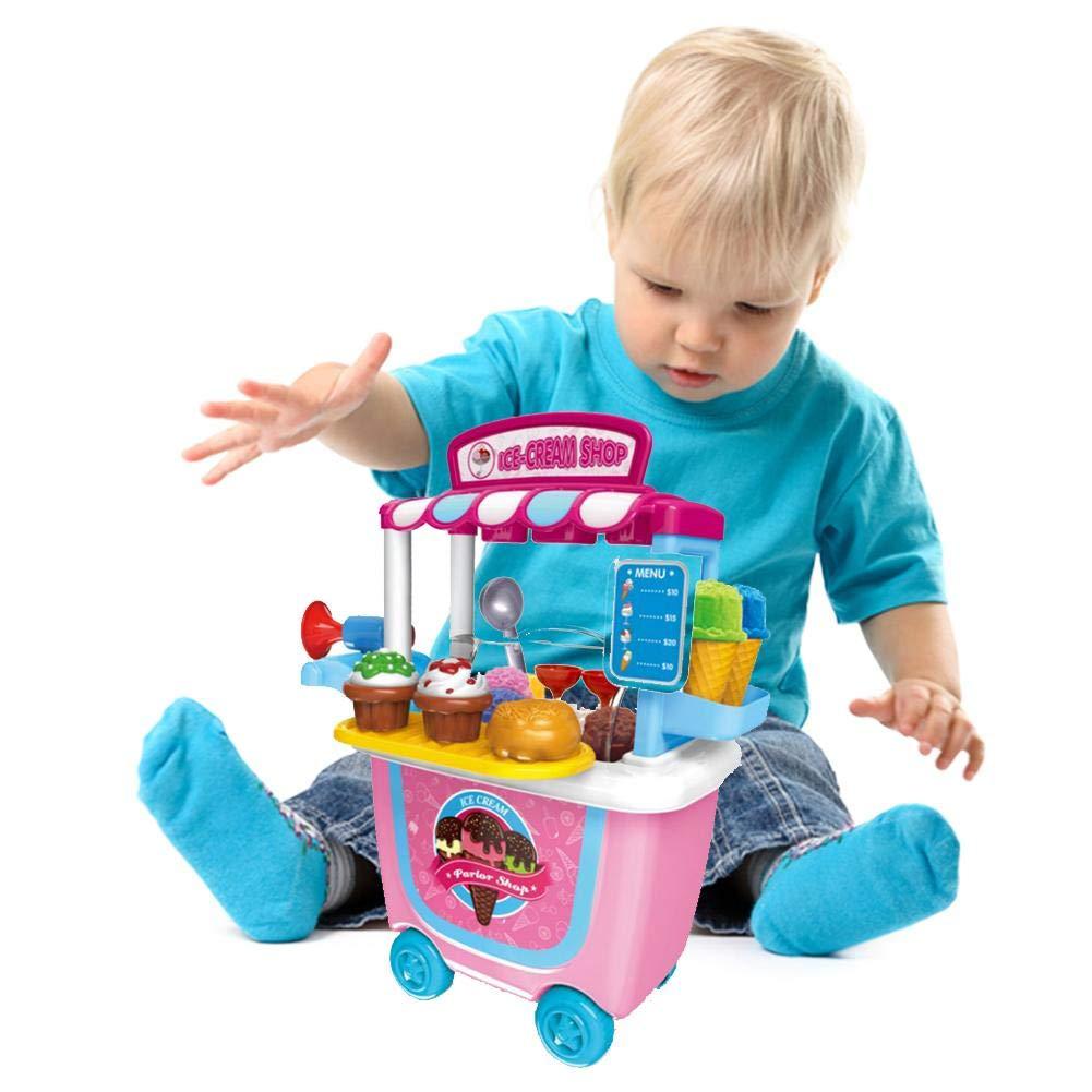 Carro pequeño Supermarket - Carrito para barbacoa/helado / carrito de herramientas Pretendente juego de alimentos para niños actividad y desarrollo temprano ...