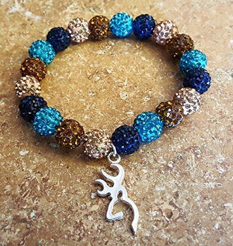 Bella Cuff Blue Camo Browning Shamballa Bracelet rustic s...