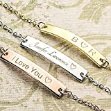 SAME DAY SHIPPING GIFT TIL 2PM CDT A Absolute rate your name bar Bracelet - Dainty Hand stamped Engraving Personalized Plate Bracelet bridesmaid Wedding Graduation Birthday Christmas Mothers day Gift