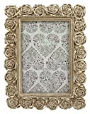 Azzure Home Rose Resin Decorative Picture Frame for Table Top or Wedding Table Décor, 4x6, Champagne