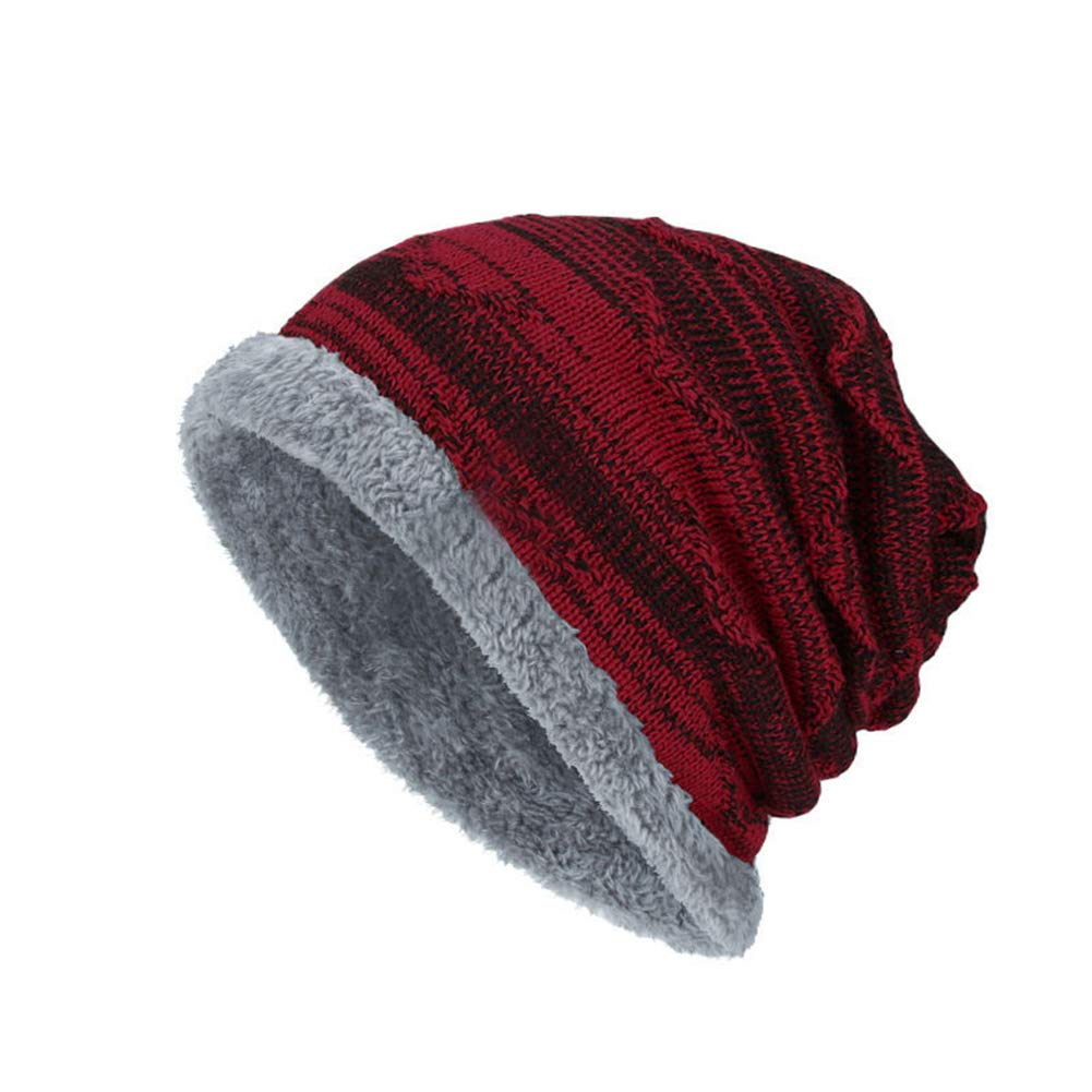 E-House Popular HatWinter Warm Thicken Fashion Men Knitted Baggy Beanie Elastic Cap Outdoor Hat Black