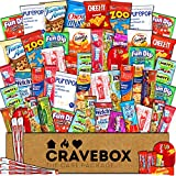 CraveBox - The Deluxe Care Package Snack Box (60 Count) - Gift Basket Variety Pack with Bars, Chips, Candy and Cookies - Sweet and Salty Treats for Lunches, College Students and Office Parties