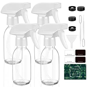 Tecohouse Glass Spray Bottle for Cleaning Solutions and Essential Oils, 4 oz Empty Small Refillable Sprayer Container with Labels, Funnel, Lids, Graduated Pipettes - Pocket Size 4 Pack (Clear)