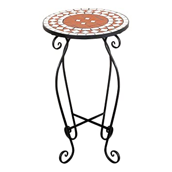 Exceptionnel Mosaic Garden Table With Round Metal Frame, 4 Colours