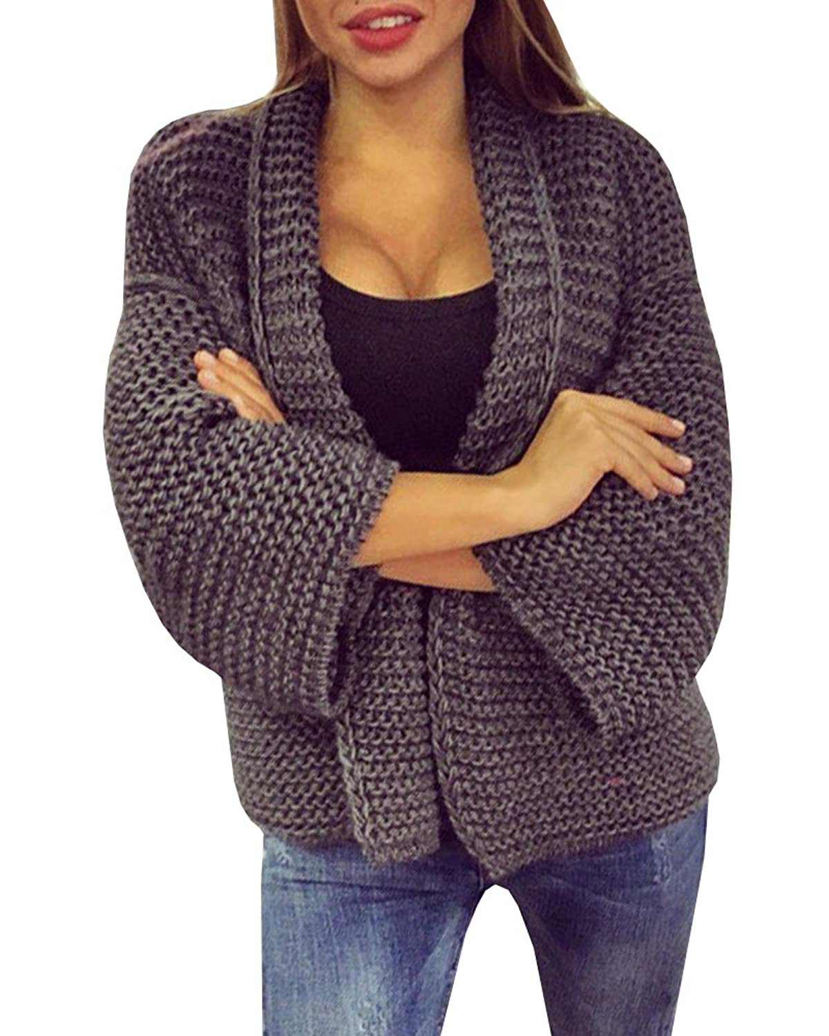 Women's Top Long Sleeves Baggy Cable Chunky Knitted Cardigan ...