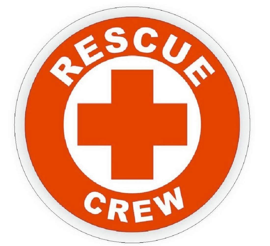 manda_ol 50 Pack 2'' inches Rescue Crew Hard Hat Decal Hardhat Sticker Helmet Label