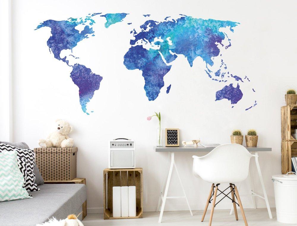 Pegatina de pared Salón Mapa del mundo Acuarela en un mar intenso ...