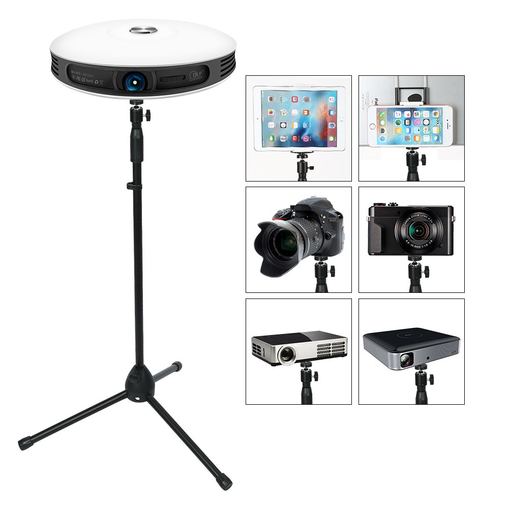 Portable Projector Stand with Tablet Phone Tripod Adapter , Lightweight Tripod Stand Adjustable Height 29.5'' to 55.1'' Anti-Slip 360° Swivel Ball Head for Small Camera ,Webcam ,GoPro