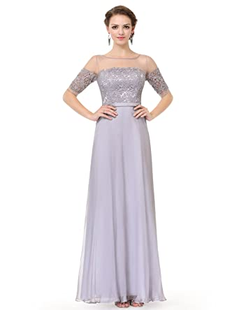 7e1e6f3850 Ever-Pretty Womens Illusion Neckline Long Lace Bust Evening Dress 4 US Grey