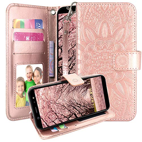AT&T AXIA Case, Cricket Vision Case, Harryshell Kickstand Flip PU Leather Protective Wallet Case Cover with Card Slots Wrist Strap for AT&T AXIA QS5509A / Cricket Vision DQON5001 (Rose Gold) (At And T Cell Phone Cases)